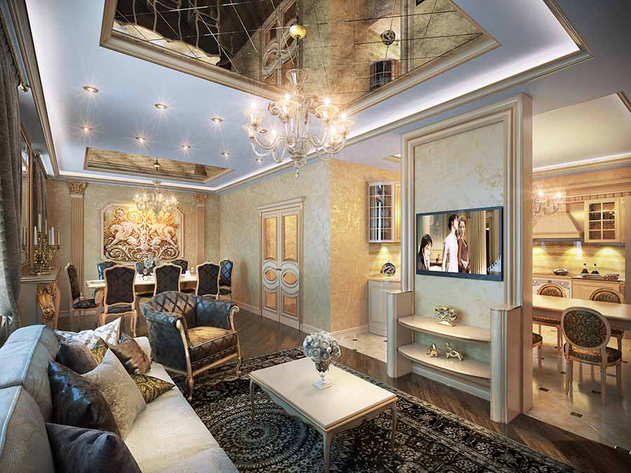 дизайн кухни, совмещенной с гостиной фото