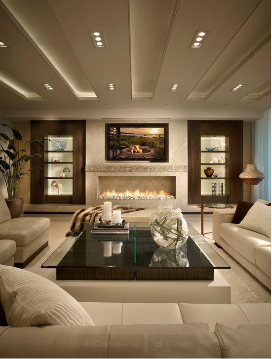 гостиная с камином фото