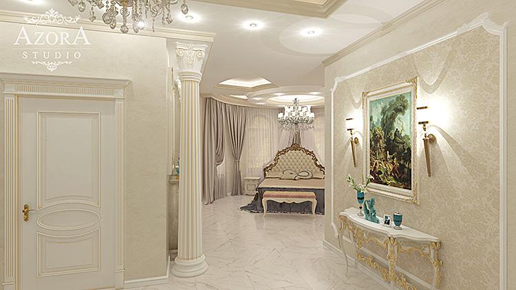 дизайн интерьера спальни в загородном доме вид 3